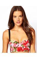 Asos Rose Print Padded Longline Fuller Bust Woven Bikini Top  - Lyst