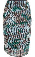 Peter Pilotto Sequin Embellished Silk Pencil Skirt - Lyst