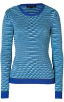 Jonathan Saunders Knit Crew Neck Pullover in Turquoisecobalt - Lyst