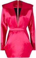 Balmain Wool silk Structural Dress in Fuchsia - Lyst