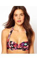 Asos Asos Digital Floral Print 50s Padded Fuller Bust Halter Bikini Top DF - Lyst