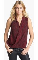 Vince Camuto Sleeveless Faux Wrap Print Blouse - Lyst