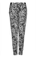 Topshop Scribble Jersey Tapered Trousers - Lyst