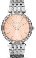 Michael Kors Midsize Silver Tone Darci Threehand Glitz Watch 39mm - Lyst