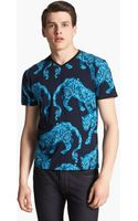 Versace Tiger Print Vneck Tshirt - Lyst