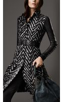 Burberry Long Leather Detail Tweed Trench Coat - Lyst