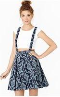 Nasty Gal Denim Brocade Suspender Skirt - Lyst