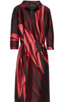 Oscar de la Renta Printed Silk-mikado Dress - Lyst
