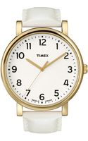Timex® Womens Premium Originals Classic White Leather Strap 42mm T2p170ab - Lyst
