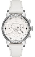 Burberry Womens Swiss Chronograph White Leather Strap 42mm - Lyst