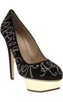 Charlotte Olympia Goldtoned Ever After Pump - Lyst