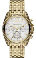 Michael Kors Womens Chronograph Pressley Goldtone Stainless Steel Bracelet 39mm - Lyst