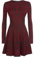 Alexander McQueen Lace Jacquard Long Sleeve Dress - Lyst