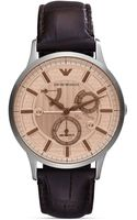 Emporio Armani Renato Brown Leather Strap Watch 43mm - Lyst