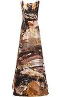 Giles Gold Leaf Print Silk Gown - Lyst