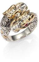 John Hardy Ruby 18k Yellow Gold Sterling Silver Double Dragon Ring - Lyst
