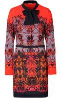 Roberto Cavalli Jersey Printed Tie Neck Dress in Rosso - Lyst