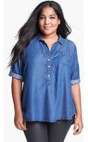 Lucky Brand Charleigh Polka Dot Chambray Shirt - Lyst