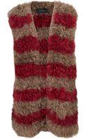 Thakoon Pink Stripe Lamb Fur Gilet - Lyst