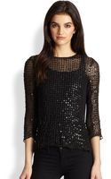 Parker Vivian Leather Sequin Silk Top - Lyst
