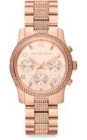 Michael Kors Crystalaccented Rose Goldtonefinished Stainless Steel Bracelet Watch - Lyst