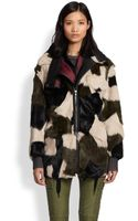 3.1 Phillip Lim Patchwork Rabbit Fur Leather Parka - Lyst