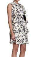 Balenciaga Dress Sleeveless Drapery Dress with Printed Silk - Lyst