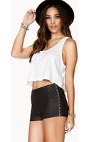 Forever 21 Standout Faux Leather Shorts - Lyst