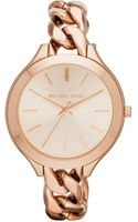 Michael Kors Midsize Golden Stainless Steel Runway Threehand Watch - Lyst
