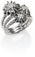 David Yurman Diamond Sterling Silver Starburst Ring - Lyst