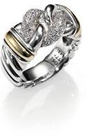 David Yurman Diamond 18k Gold Sterling Silver Curb Band Ring - Lyst
