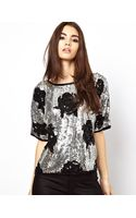 Asos Asos Tshirt with Shadow Floral Sequin - Lyst