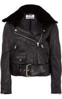 Acne Studios Black Mape Shearling Collar Leather Biker Jacket - Lyst