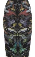 McQ by Alexander McQueen Hummingbird-print Stretch-jersey Pencil Skirt - Lyst