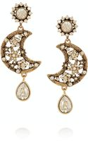 Oscar de la Renta Lunar Gold Plated Crystal Clip Earrings - Lyst