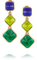 Oscar de la Renta Gold Plated Resin Clip Earrings - Lyst