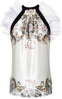 Prabal Gurung Printed Silk-chiffon Top with Ruffle Detail - Lyst