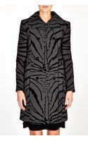 Carven Zebra Stripe Wool Pea Coat - Lyst