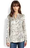 Equipment Ava Silk Python Printed Sleeve Top - Lyst
