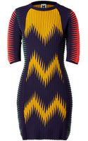 M Missoni Wool Blend Multi Color Patterned Knit Dress - Lyst