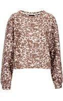 Topshop Fluffy Leopard Crop Sweat - Lyst