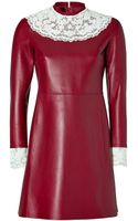 Valentino Leather Dress with Lace Bib - Lyst
