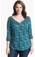 Lucky Brand Folklore Mixed Print Top - Lyst