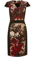 Adrianna Papell Cap Sleeve Print Block Dress - Lyst
