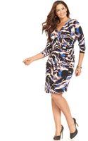 Calvin Klein Three Quarter Sleeve Printed Faux Wrap - Lyst