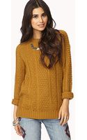 Forever 21 Cozy Mixed Knit Sweater - Lyst