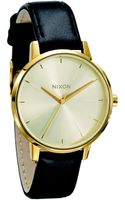 Nixon Kensington Goldtone Stainless Steel Leather Watch - Lyst