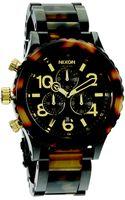 Nixon Tortoiseprint Blackfinished Stainless Steel Chronograph Watch - Lyst