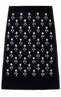 No 21 Crystal Embellished Wool Skirt - Lyst