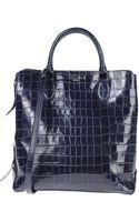 Rochas Crocodile Embossed Leather Top Handle Bag - Lyst